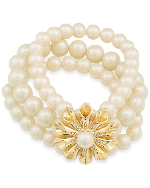 Carolee | Metallic Gold-tone Pavé & Imitation Pearl Flower Stretch Bracelet | Lyst