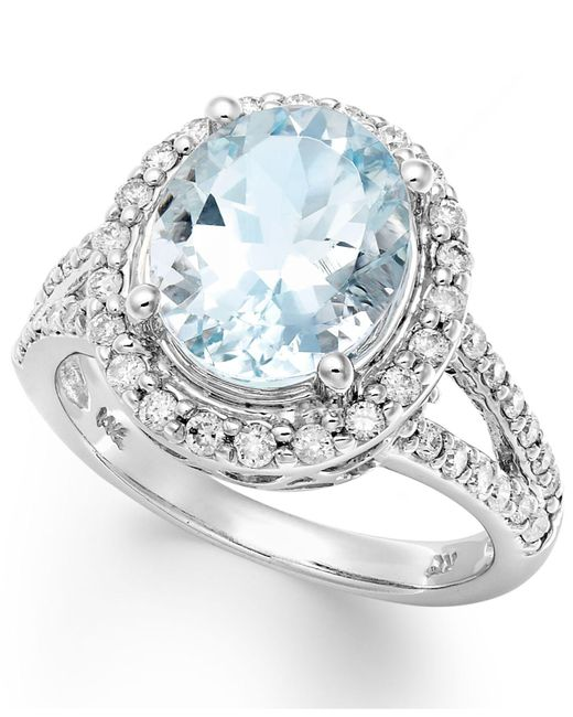 Macy's - 14k White Gold Ring, Aquamarine (3-1/4 Ct. T.w.) And Diamond (1/2 Ct. T.w.) Oval Ring - Lyst