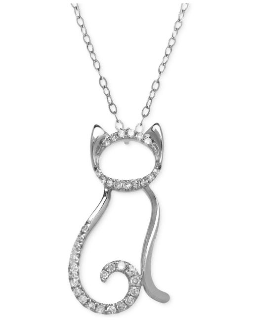 Macy's | Metallic Diamond Cat Pendant Necklace (1/10 Ct. T.w.) In 10k White Gold | Lyst