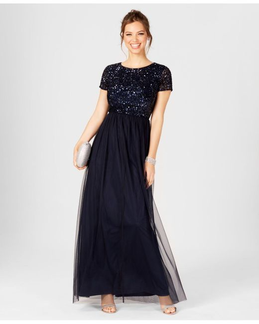 00d06542 Adrianna Papell - Blue Short-sleeve Sequin Tulle Gown - Lyst ...
