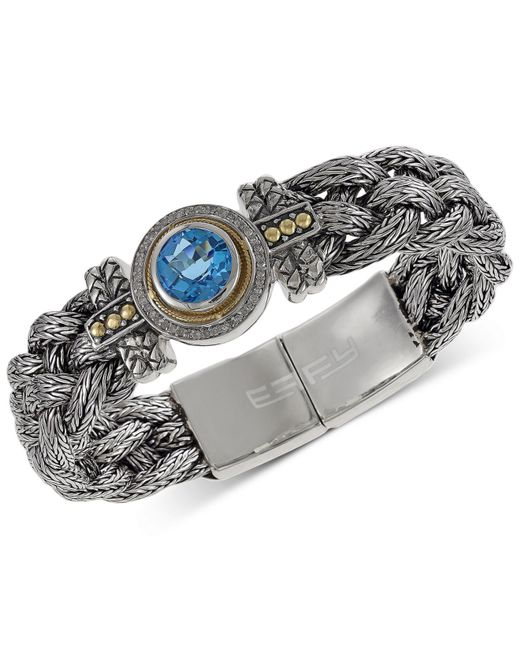 Effy Collection - Red Blue Topaz (4 Ct. T.w.) And Diamond (1/5 Ct. T.w.) Braided Tennis Bracelet In Sterling Silver And 18k Gold - Lyst