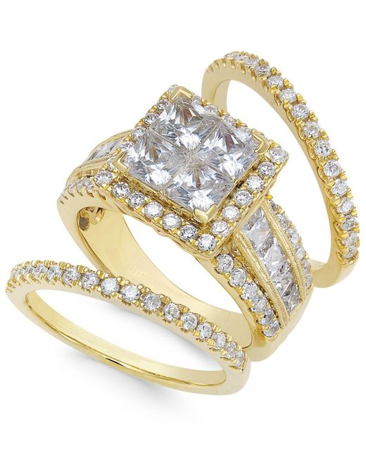 Macy's - Metallic Diamond Cluster Bridal Set (3-1/2 Ct. T.w.) In 14k Gold - Lyst