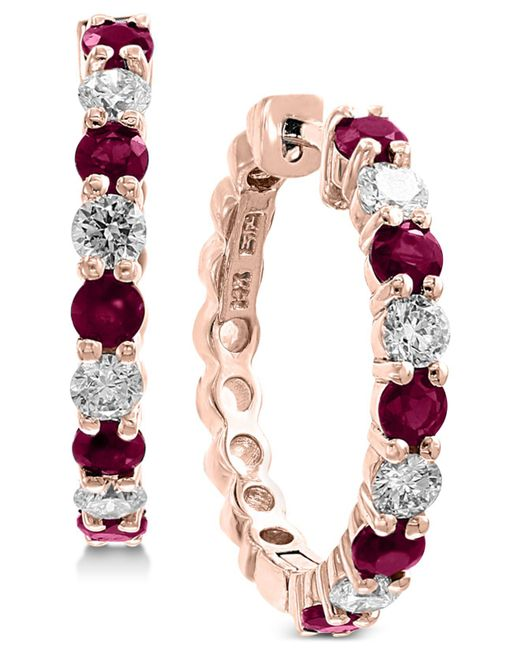 Effy Collection - Red Effy® Ruby (1-1/3 Ct. T.w.) & Diamond (3/4 Ct. T.w.) Hoop Earrings In 14k Rose Gold - Lyst