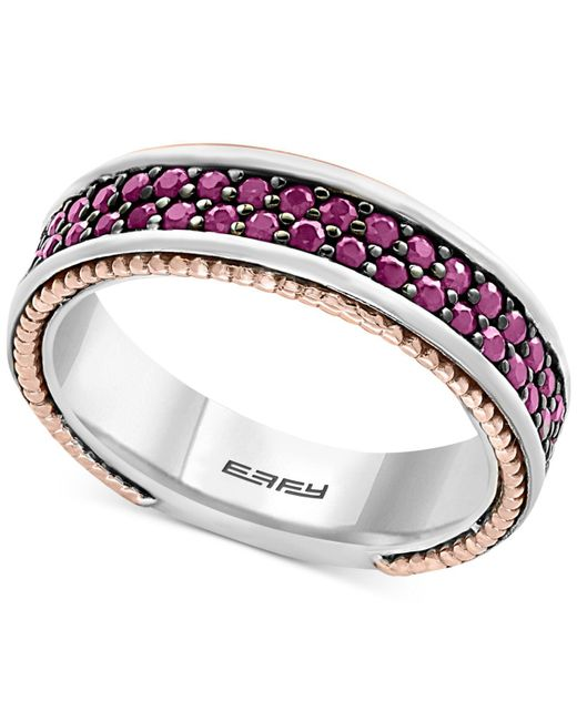 Effy Collection | Metallic Men's Ruby Band (1-1/2 Ct. T.w.) In Sterling Silver, 18k Rose Gold And Black Rhodium for Men | Lyst