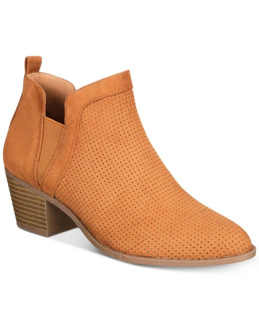 Style & Co. | Brown Women's Myrrah Perforated Ankle Booties | Lyst