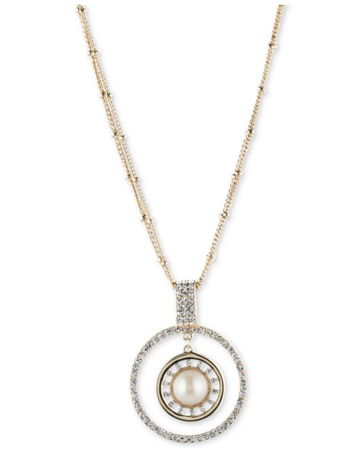 Carolee | Metallic Gold-tone Imitation Pearl & Pavé Circle Pendant Necklace | Lyst