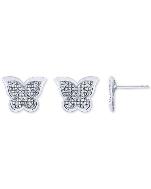 Macy's | Metallic Diamond Accent Butterfly Stud Earrings In 10k White, Yellow Or Rose Gold | Lyst