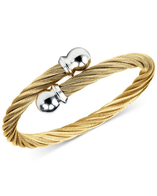 Charriol - Metallic Twisted Cable Bypass Bracelet In Gold-plated Stainless Steel - Lyst
