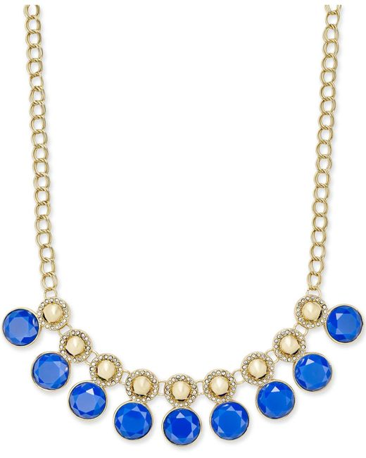 Charter Club | Blue Gold-tone Pavé And Colored Stone Necklace | Lyst