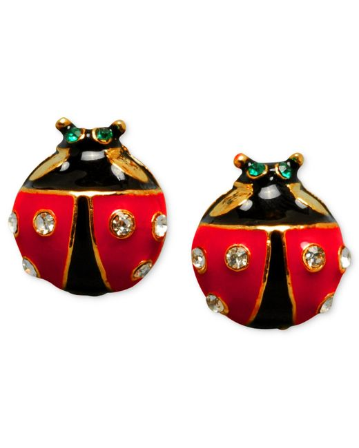 Betsey Johnson | Black Ladybug Stud Earrings | Lyst