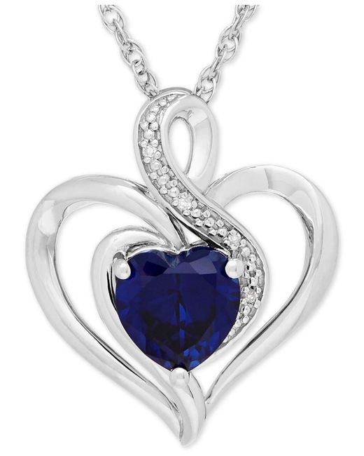 Macy's - Metallic Sapphire (1-3/4 Ct. T.w.) And Diamond Accent Heart Pendant Necklace In Sterling Silver - Lyst