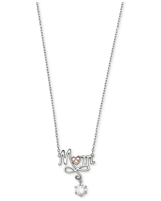Giani Bernini | Metallic Cubic Zirconia Mom Script Pendant Necklace In Sterling Silver And 18k Rose Gold-plate | Lyst