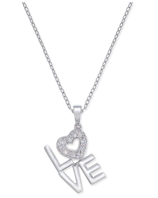 Macy's - Metallic Diamond Love Pendant Necklace (1/10 Ct. T.w.) In Sterling Silver - Lyst
