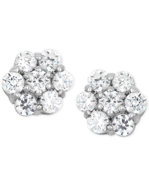 Wrapped in Love - Metallic Diamond Cluster Stud Earrings (1/2 Ct. T.w.) In 14k White Gold - Lyst