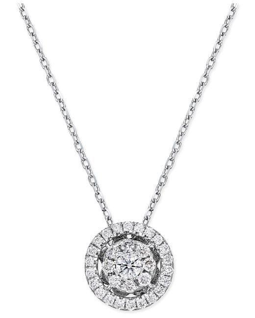 Macy's - Metallic Diamond Cluster Halo Pendant Necklace (1/4 Ct. T.w.) In 14k White Gold - Lyst