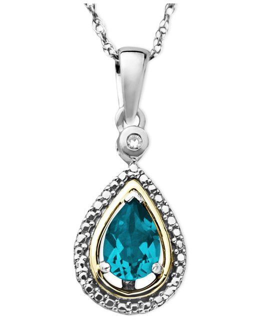 Macy's | 14k Gold And Sterling Silver Necklace, Blue Topaz (3/4 Ct. T.w.) And Diamond Accent Teardrop Pendant | Lyst