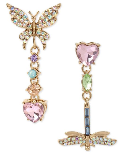 Betsey Johnson | Metallic Pavé Butterfly & Dragonfly Mismatched Drop Earrings | Lyst