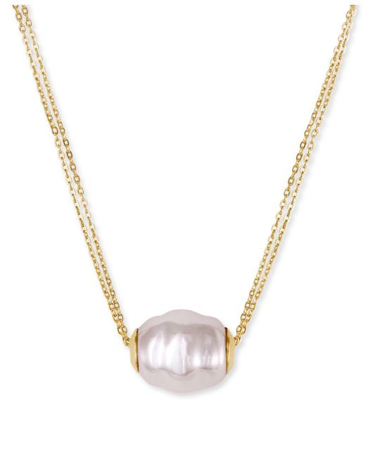 Majorica | White Vermeil Chain And Man-made Pearl Pendant Necklace | Lyst