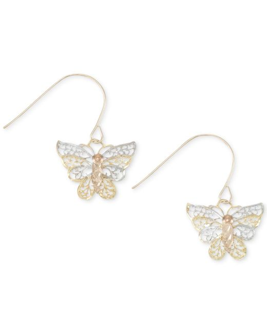 Macy's | Metallic Two-tone Openwork Butterfly Drop Earrings In 10k Gold And White Gold | Lyst