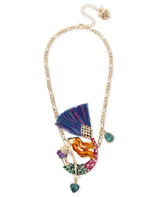 Betsey Johnson | Blue Gold-tone Multi-stone Mermaid Pendant Necklace | Lyst