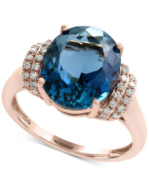 Effy Collection - London Blue Topaz (5-1/3 Ct. T.w.) And Diamond (1/8 Ct. T.w.) Ring In 14k Rose Gold - Lyst