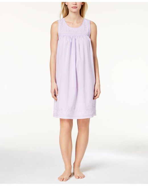 Charter Club - Purple Woven Embroidered Nightgown, Created For Macy's - Lyst