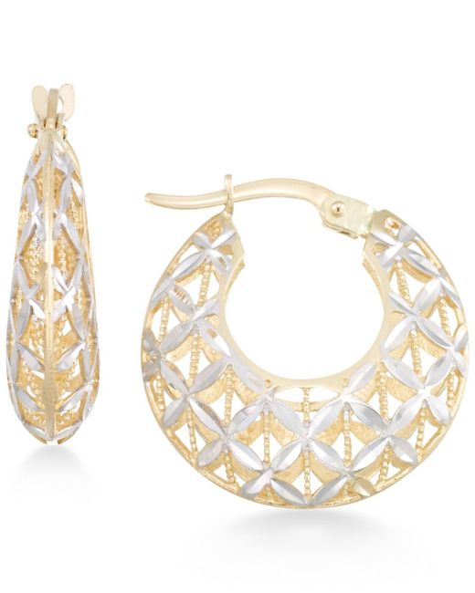 Macy's | Metallic Openwork Two-tone Round Chunky Hoop Earrings In 14k Gold And White Gold | Lyst