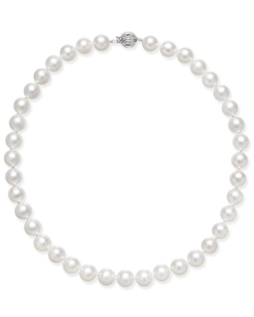 Macy's   Cultured White South Sea Pearl (8mm - 12mm) Graduated Collar Necklace   Lyst