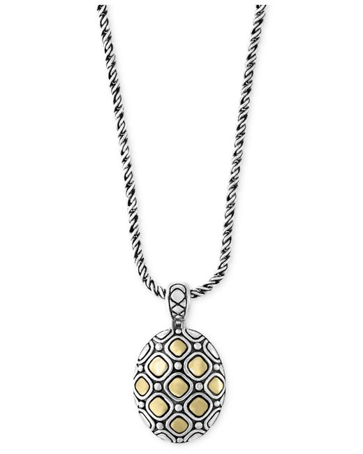 Effy Collection   Metallic Two-tone Geometric Oval Pendant Necklace In Sterling Silver And 18k Gold   Lyst