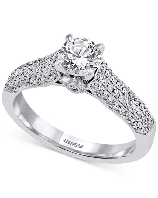 Effy Collection | Metallic Diamond Pavé Engagement Ring (1 Ct. T.w.) In 14k White Gold | Lyst