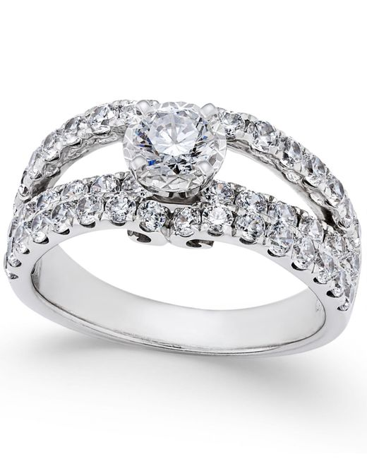 Macy's | Metallic Diamond Split Shank Engagement Ring (2 Ct. T.w.) In 14k White Gold | Lyst