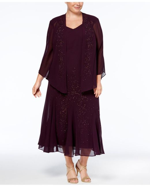 R & M Richards - Multicolor Plus Size Beaded V-neck Dress And Jacket - Lyst