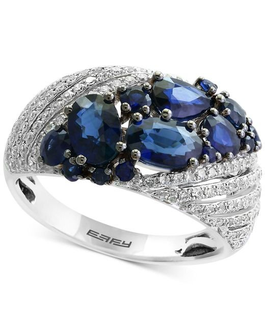 Effy Collection   Blue Sapphire (2-1/10 Ct. T.w.) And Diamond (3/8 Ct. T.w.) Ring In 14k White Gold   Lyst