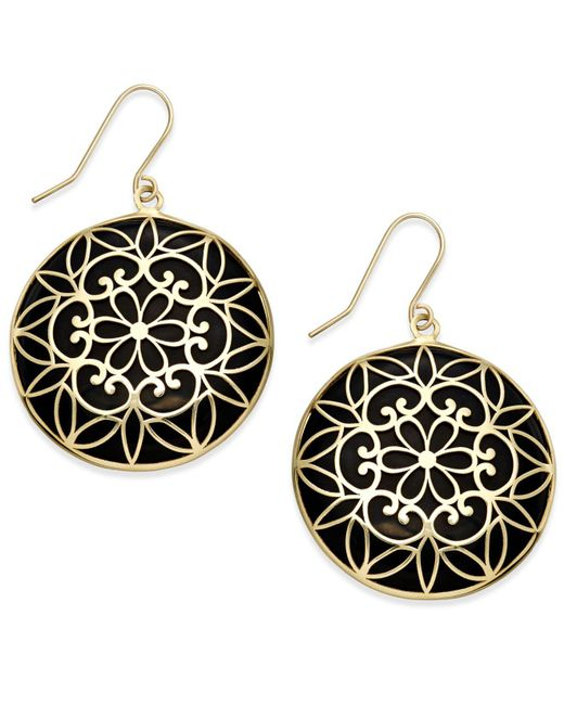 Macy's - Metallic Onyx Decorative Medallion Drop Earrings (23mm) In 14k Gold - Lyst