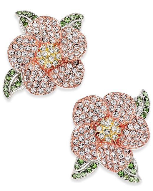 Joan Boyce   Multicolor Tri-tone Green & Clear Pavé Flower Stud Earrings   Lyst