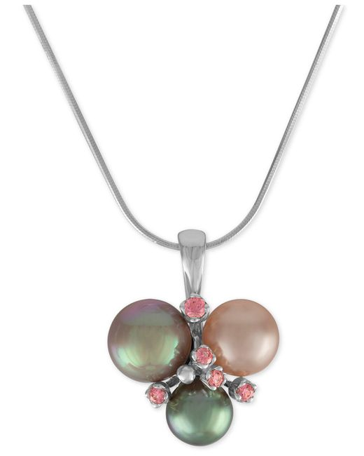 Majorica   Metallic Sterling Silver Pink Cubic Zirconia & Colored Imitation Pearl Pendant Necklace   Lyst