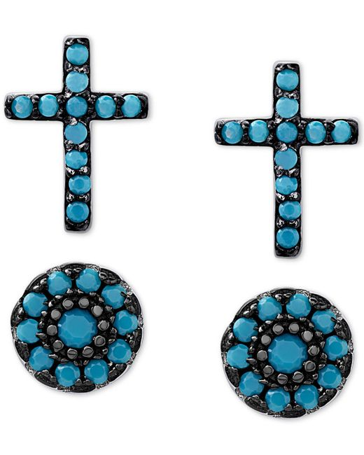 Macy's | Metallic 2-pc. Set Manufactured Turquoise Cross And Oval Stud Earrings In Sterling Silver | Lyst