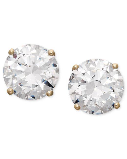Arabella - Metallic 14k Gold Earrings, Swarovski Zirconia Round Stud Earrings (3-1/2 Ct. T.w.) - Lyst