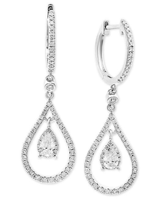 Effy Collection - Effy® Diamond Teardrop Hoop Drop Earrings (3/4 Ct. T.w.) In 14k White Gold - Lyst