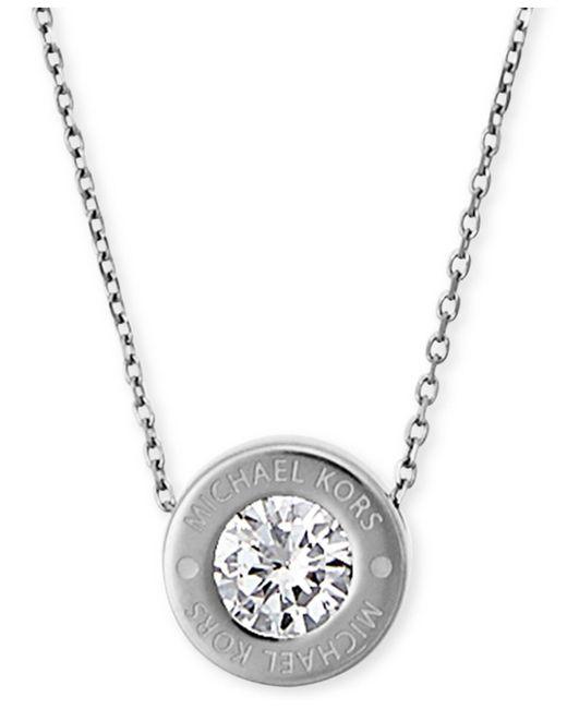 Michael Kors   Metallic Bezel Set Crystal Logo Pendant Necklace   Lyst
