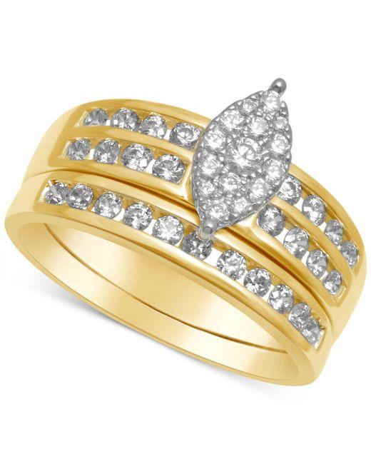 Macy's   Metallic Diamond Marquise-cluster Bridal Set (3/4 Ct. T.w.)   Lyst