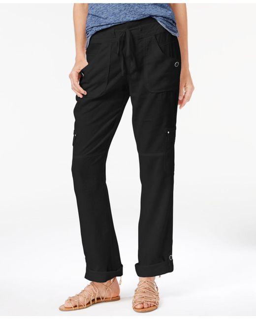 INC International Concepts | Black Roll-tab Cargo Pants | Lyst