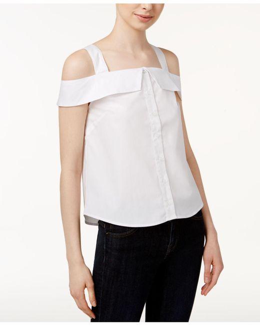 Kensie | White Oxford Cotton Cold-shoulder Shirt | Lyst