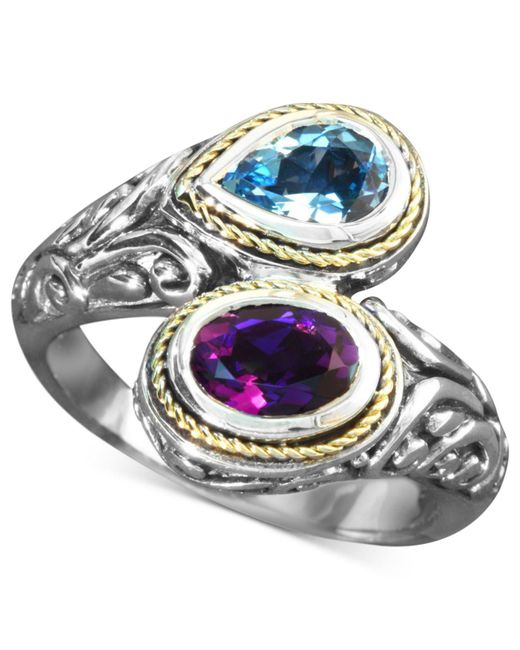 Effy Collection | Metallic Blue Topaz (3/4 Ct. T.w.) And Amethyst (3/4 Ct. T.w.) Bypass Ring In Sterling Silver And 18k Gold | Lyst