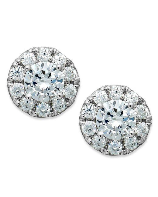 Macy's - Metallic Diamond Halo Stud Earrings In 14k White Gold (1/2 Ct. T.w.) - Lyst