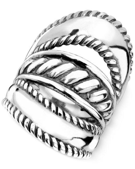 Carolyn Pollack   Metallic Ornate Three-row Ring In Sterling Silver   Lyst