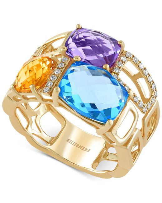 Effy Collection | Metallic Multi-stone (6-7/8 Ct. T.w) And Diamond (1/10 Ct. T.w.) Mosaic Ring In 14k Gold | Lyst