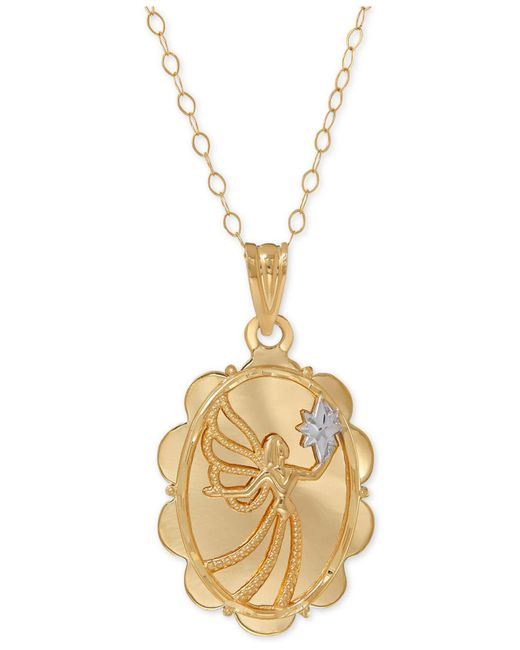 "Macy's | Metallic Two-tone Angel ""always By Your Side"" Pendant Necklace In 10k Gold 