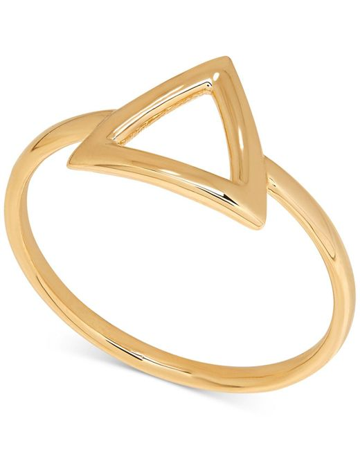 Macy's | Metallic Polished Triangle Statement Ring In 14k Gold | Lyst