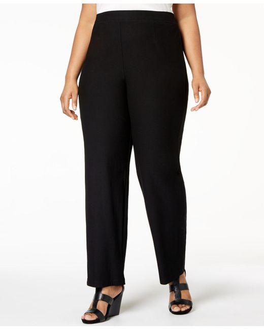 8310f696805 Eileen Fisher - Black Plus Size System Straight-leg Pants - Lyst ...